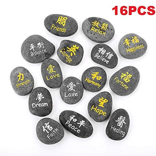 (16 RockImpact Kanji Symbol Engraved Stones Japanese Chinese Han Hanja Characters Feng Shui Zen Stone Solid Black Beach Pebble (Set of 16, Super Value Variety)