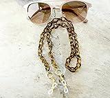 Tortoise Shell Eyeglass Chain with Gold Reading Glasses Holder Chain