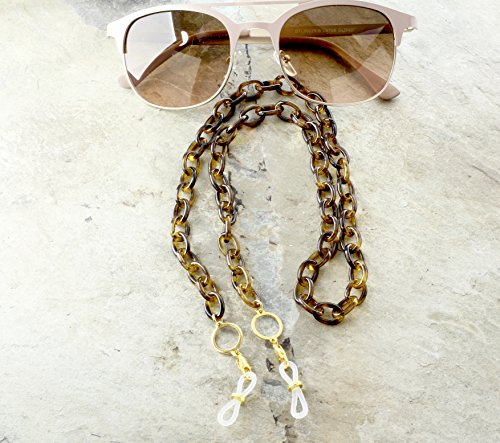 Tortoise Shell Eyeglass Chain with Gold Reading Glasses Holder (Shell Chain)