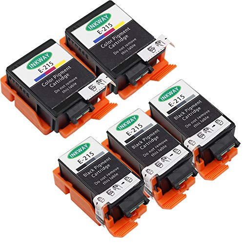 inkway 5 Pack (3 Black, 2 Color) Remanufactured T215 Ink Cartridge for WF-100 Printer Replacement 215 T215120 T215530 Pigment Ink