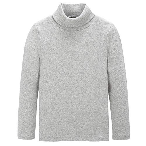 - CUNYI Boys Girls Turtleneck Long Sleeve Cotton T-Shirts Solid Color Tops, Light Grey, 150