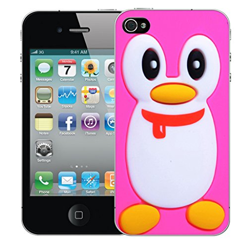 Mobile Case Mate iPhone 4 Silicone Coque couverture case cover Pare-chocs + STYLET - Pink Penguin pattern (SILICON)