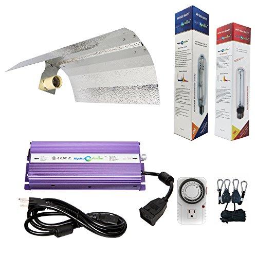 (Hydroplanet&Trade; 600w Hydroponic 600w Watt Grow Light Digital Dimmable Ballast HPS Mh Kit for Plants Gull Wing Reflector Hood Set (600w) (600watt))