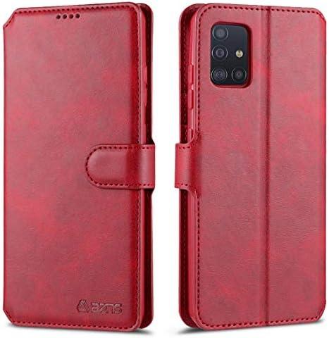 Galaxy A51 ケース, CHENXI カード収納 スタンド機能 衝撃吸収 牛柄 PUレザー ソフトTPU マグネット式 財布型 手帳型 ケース ために Samsung Galaxy A51 - レッド