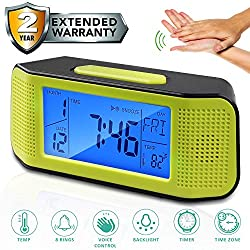 Alarm Clock for Bedroom Voice Operated Backlight LCD Large Digital Clock Battery Operated Travel Clock for Heavy Sleeper, Have 8 Sound and Timer Function Display Time Temp Time Zone (Green 2019)