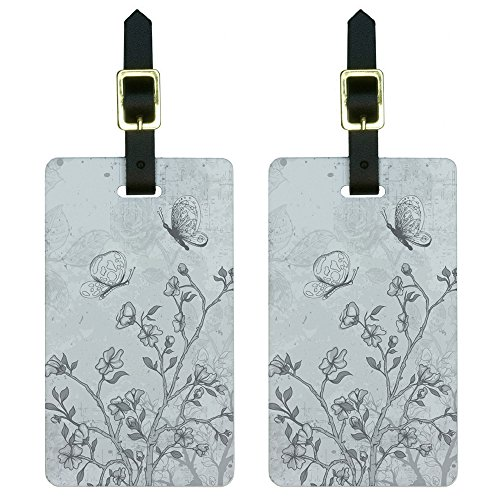 Vintage Butterflies Flowers Floral Sketch Luggage Tags Suitcase ID Set of - Floral Luggage Tag