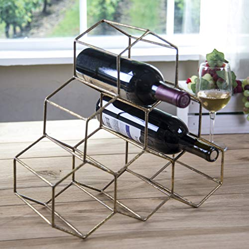 (Metallic Hexagon Wine Bottle Holder Rack - 14