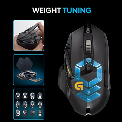 Logitech G502 Gaming Mouse Proteus Spectrum RGB Tuneable with 11  Programmable Buttons, Black