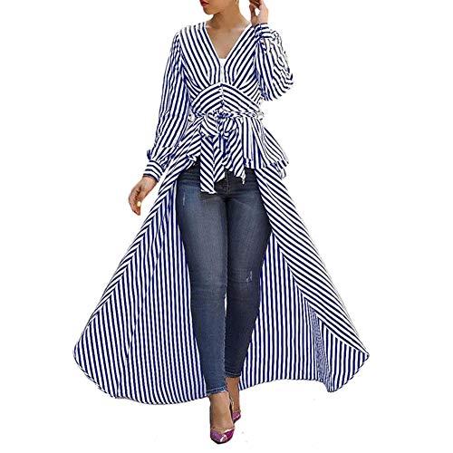 - Viloong Women's High Low Asymmetrical Long Sleeve Stripe Dress Shirt with Belt (Blue White Stripe, S)