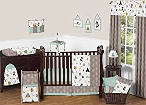 Outdoor Adventure Nature Fox Bear Animals Boys Baby Bedding 11 Piece Crib Set without bumper