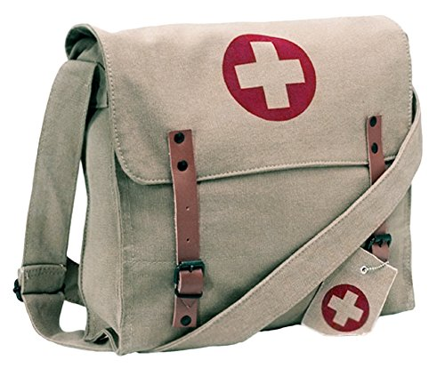 Rothco Vintage WWII Look Khaki Canvas Medic Messenger Bag w/Red Cross ()