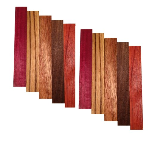 Pen Blank 10 Pack - Purple Heart, Zebrawood, Sapele, Walnut, Padauk