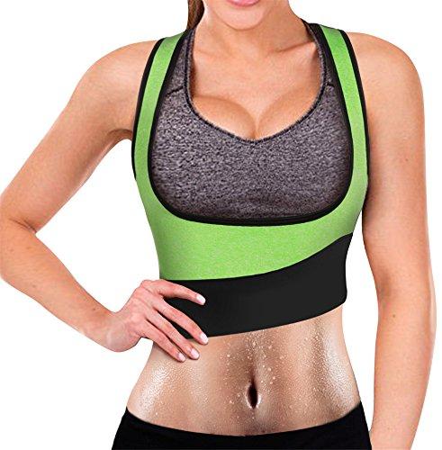 Eleady Womens No Zipper Hot Sweat Slimming Neoprene Shirt Vest Body Shapers (XL Fits 35.8-38.1 Waistline, Green Sauna Suit)