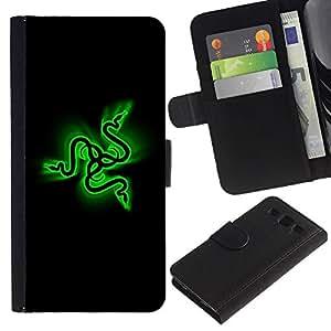 EuroCase - Samsung Galaxy S3 III I9300 - Green Snakes - Cuero PU Delgado caso cubierta Shell Armor Funda Case Cover