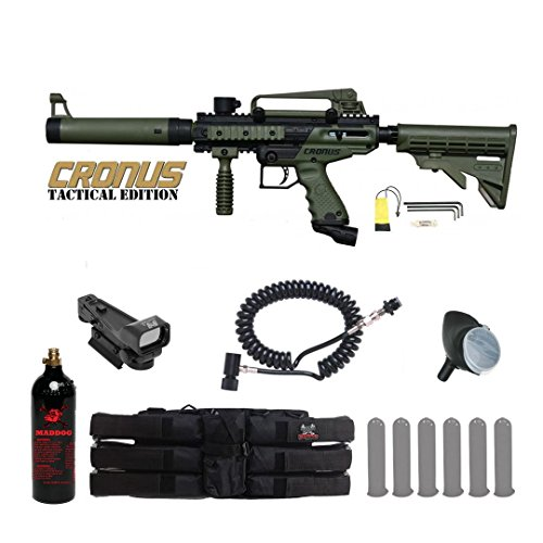 MAddog Tippmann Cronus Tactical Red Dot Paintball Gun Package - Black/Olive