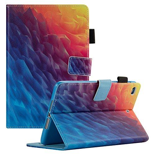 iPad Mini Case, Mini 2/3/4 Case, Dteck Slim Fit Folio Stand [Cash Pocket] Premium PU Leather Case with Auto Wake/Sleep Smart Cover for Apple iPad Mini 4/ Mini 3/ Mini 2/ Mini, Rainbow Ice