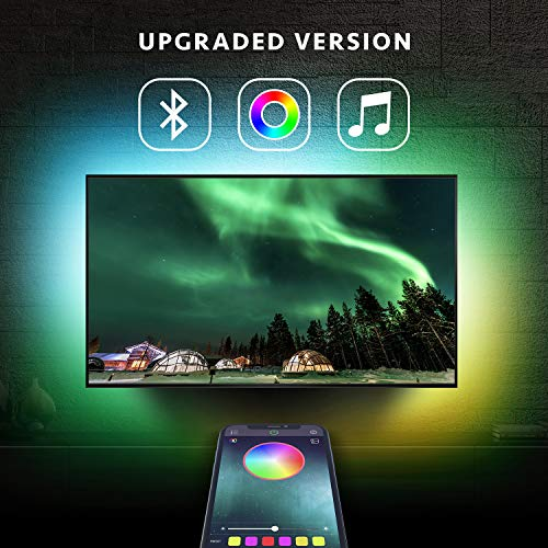 6.5ft Backlight Light Strip Kit for 24'-60' For TV,Mirror,PC, APP Control Sync to Music, Bias Lighting, 5050 RGB Waterproof IP65 USB LED Strip Lights Compatible with Android IOS(2019 Upgraded)