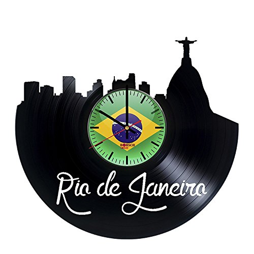 Rio de Janeiro Brazil Handmade Vinyl Record Wall Clock - Get unique office room wall decor - Gift ideas for men and women – Cities Skylines Unique Modern Art