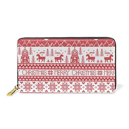 8' Leather Bi Fold Wallet - Knitted Red Christmas OrnamentsWomen Large Capacity Genuine Leather Bifold Multi Card Organizer travel Wallet with Zipper Pocket, Stylish And Portable Purse.