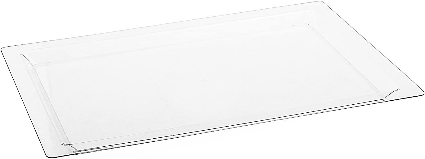 Disposable Rectangle Plastic Serving Tray | Excellent for Weddings, Buffets, Dinner, and Parties | 17 x 12 inches | 4 Count | Clear