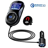 SONRU Bluetooth FM Transmitter, Car MP3 Music Player Bluetooth Handsfree Car Kit, 1.44 Inch LED Display, Dual USB Ports (QC3.0+5V/1A), A2DP Crystal Sound Quality, Magnetic Clip with 1.1M Cable