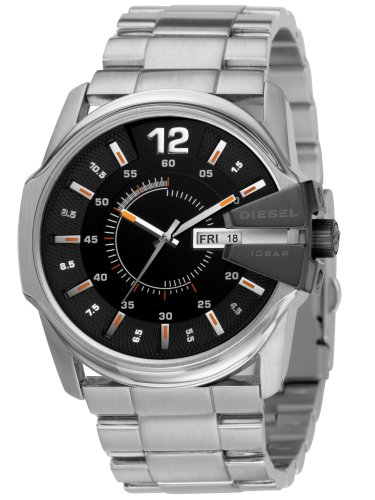 Diesel Silver Black Band Watch - Diesel Men's DZ1208 Not So Basic Basic Silver Watch