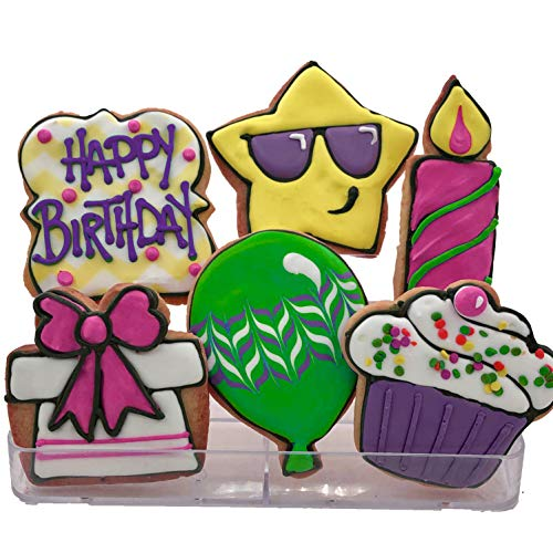 (Birthday Assortment Cookies- Pink Lime Yellow Purple- 12 Decorated Shortbread Cookies Individually Wrapped With Bow by BakersDozenToGo)