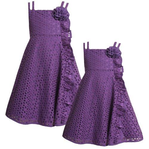-6X Purple Side Cascade Ruffle Double Strap Eyelet Dress, Purple, 6 ()