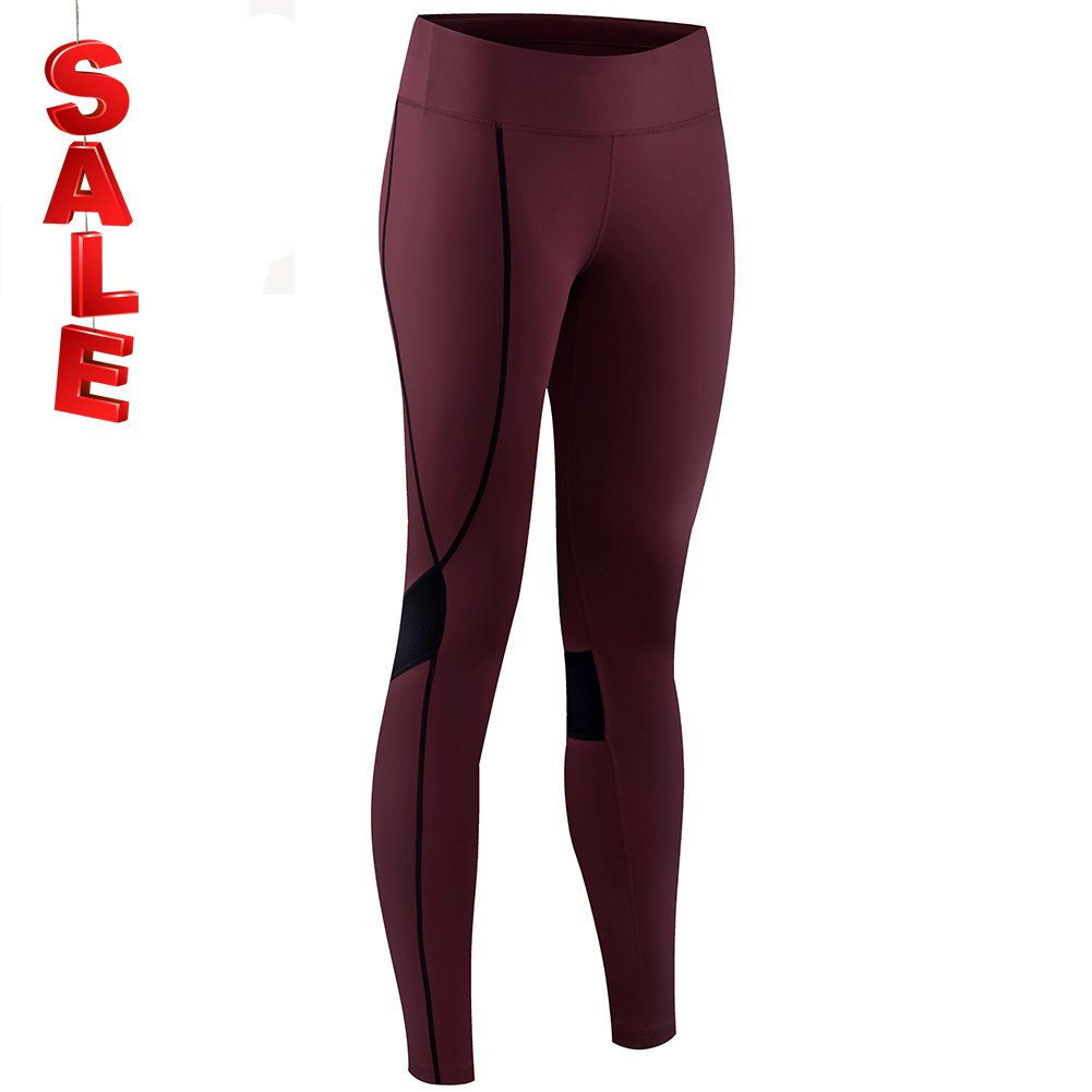 NOOYME (New Gear for Springs) Women's Athletic Running Workout Pants Cycling Tights (M, Burgundy-black)