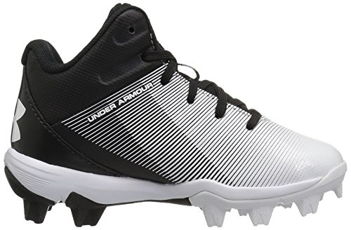 Under Armour Boys' Leadoff Mid Jr. RM Baseball Shoe, Black (011)/White, 1 by Under Armour (Image #7)