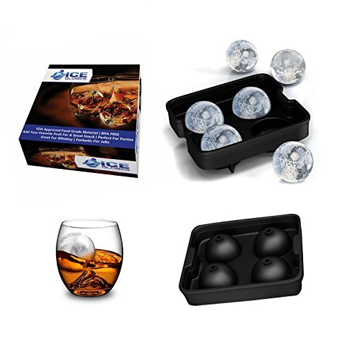 Ice Spheres - Large Food Grade Silicone Ice Ball Maker Mold For Whiskey Glasses - Makes 4