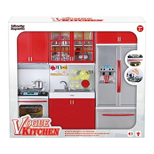 Gourmet red kitchen mini toy playset w lights and sounds for Perfect kitchen sharjah