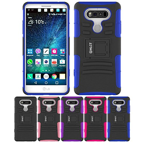 Price comparison product image LG V20 Case, HLCT Rugged Shock Proof Dual-Layer PC and Soft Silicone Case With Built-In Kickstand for LG V20 (2016) (Blue)