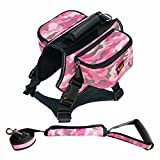 Cheap DFSP Dog Backpack Hiking Walking Camping Adjustable Self Saddle Bag Carrier Dog Vest Harness Hound Bag for Medium & Large Dog(Camo Pink)
