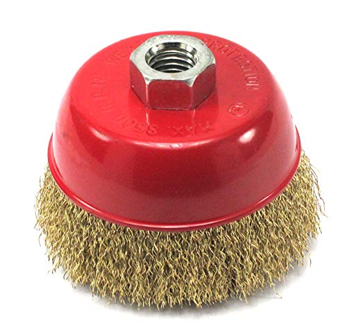 Elitexion 4 inches x 5/8 inch Thread Cup Wire Wheel Brush, Fine Crimped Wire Cup Wheel ()
