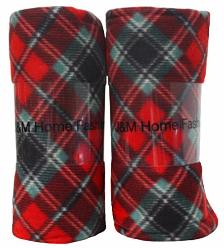 J & M Home Fashions Holiday Plaid Fleece Blanket, 50 by 60-I