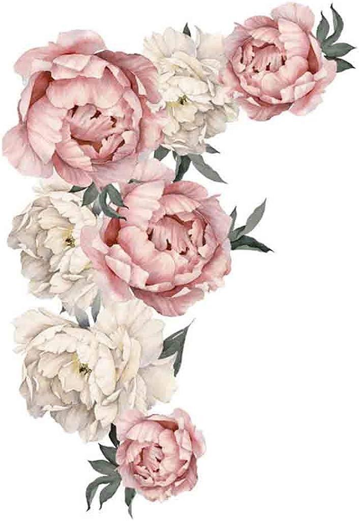 Orcbee_Peony Rose Flowers Wall Sticker Art Nursery Decals Kids Room Home Decor Gift