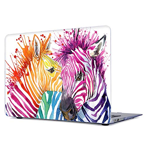 (Onkuey Pattern Rubberized Plastic Protective Case Hard Shell Cover for MacBook Air 13 Inch (Model: A1369 and A1466), Rainbow Zebra)