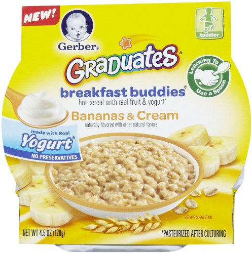 Gerber Graduates Breakfast Buddies Hot Cereal With Real Fruit & Yogurt Bananas & Cream