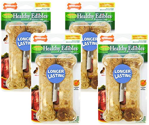 (4 Pack) Nylabone Healthy Edibles Dog Chew Treat Bones for Wolf / Medium Size Dogs (Roast Beef)