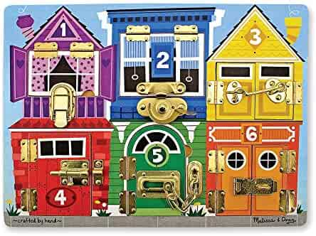 Melissa & Doug Wooden Latches Board, Developmental Toy, Helps Develop Fine Motor Skills, Smooth-Sanded Wood, 15.5