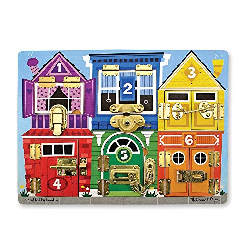 Melissa & Doug Wooden Latches Board (Developmental Toy, Helps Develop Fine Motor Skills, Smooth-Sanded Wood)]()