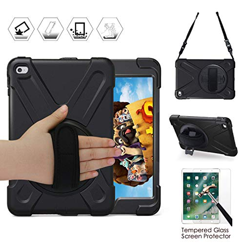 iPad Mini4 Case, Shockpoof Drop Resistant Impact Resistant Heavy Duty Rugged Protective Silicone Case with Tempered Glass Screen Protector 360 Degree Stand/Handle Hand Strap/Shoulder Strap, Black - New Mini Bumper