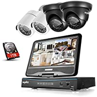 SANNCE 4CH 1080P Lite HDMI DVR Security System with 10inch LCD Monitor and (4) Weatherproof Indoor Outdoor 66fft Night Vision Video Surveillance Camera, 1TB Hard Drive Included, Email Alarm, Free App