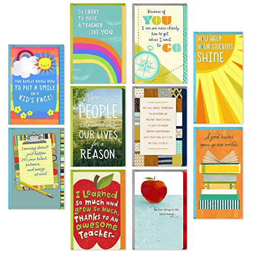 reciation Cards Assortment for Preschool, Kindergarten, Elementary School, Graduation or Back to School (10 Cards and Gift Card Holders with Envelopes) ()