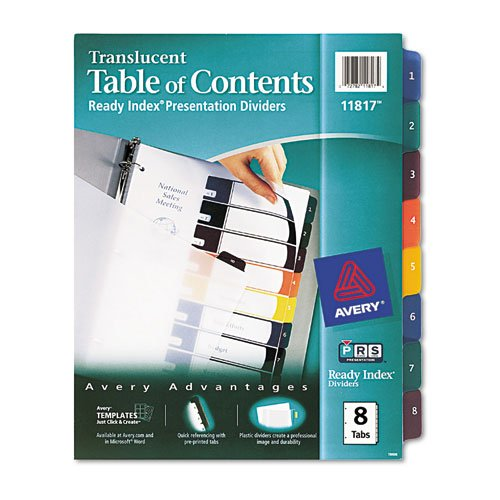 AVE11817 - Avery Ready Index Translucent Table Of Content Dividers