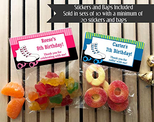 Skating Party Birthday Personalized Treat Bags and Stickers, Set of 20, Roller Skating, Pink or Blue -