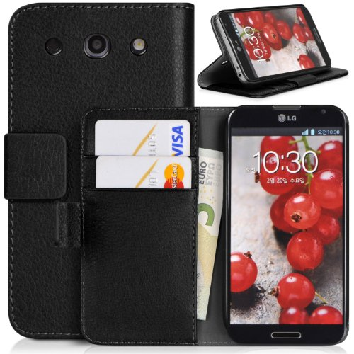 Topratesell Wallet Case for Lg Optimus G Pro E980 Structure with Credit Card Pockets and Stand-up Feature (Black)
