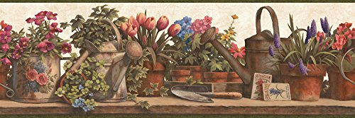Wallpaper Border Watering Cans Potted Florals with Baskets on Beige Green - Wallpaper Potted Border Floral