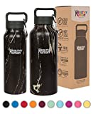 Healthy Human Double Walled Insulated Stainless Steel Water Bottle Thermos with Carabiner - Black Onyx - 21 oz
